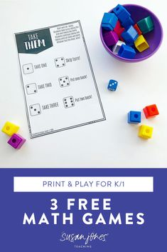 Kindergarten and first grade students need tons of practice with number sense. They need to see and feel the numbers over and over throughout the year. Over on the blog post, I went ahead and shared 3 fun and FREE games to help your students practice number sense. #kindergartenmath #numbersense #firstgrademath