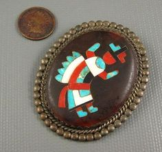 Old Zuni Sterling Mosaic Inlay Turquoise Shell Rainbow Man Brooch