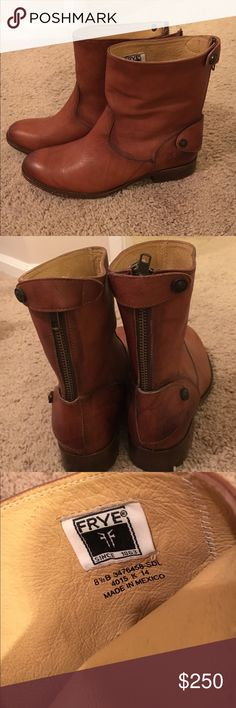 Frye short boots Brown Melissa button zip Frye Short boot. Leather.Size 8.5. New condition -only worn once or twice. (Price tag took color off the soles of the boots. See pictures. Not noticeable when wearing) zipper and snap detail on heel. No scuffs. Frye Shoes Ankle Boots & Booties