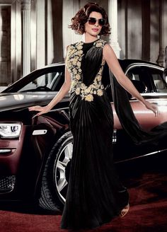 Buy Priyanka Chopra Black Color Lycra Saree Style Gown in USA,UK and Canada