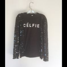 Celfie fitted t shirt I have black or white fitted tees with celfie printed on front all sizes .PLEASE DO NOT BUY THIS LISTING please leave size in comments and I'll make you a listing of your own. Tops Tees - Short Sleeve