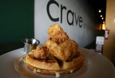 crave - el paso, tx (chicken and waffles/sweet potato fries with marshmallow sauce)