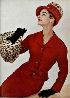 Model wearing Pierre Balmain for L'Officiel De La Mode, 1956.