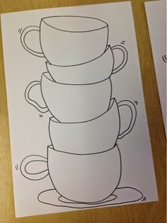 Color It Like you MEAN it!: Stacked teacups, using a sticky note to keep the cups to the same width. Maybe a sub plan Color It Like you MEAN it!: Stacked teacups, using a sticky note to keep the cups to the same width. Maybe a sub plan Tea Cup Art, Coffee Cup Art, Tea Cups, Mandala Drawing, Mandala Art, Art Fantaisiste, Tole Painting, Diy Canvas, Canvas Art