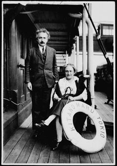 This is Einstein with his wife, Elsa. | Aboard the SS Kitano Maru, during their travels to the Far East in 1922.
