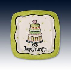 "this wedding cake platter is yum.  ""happily ever after"""