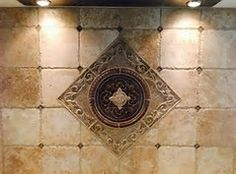kitchen backsplash water jet cut tile designs with medallions