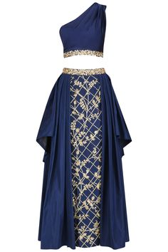 Navy blue embroidered one shoulder top and and skirt set available only at Pernia's Pop Up Shop.