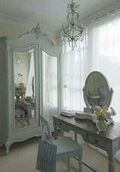 Soft, old-fashioned powder blue shabby chic bedroom! Shabby Chic Cottage, Shabby Chic Homes, Shabby Chic Style, Shabby Chic Decor, French Cottage Style, French Style, French Country, Beige Room, French Armoire