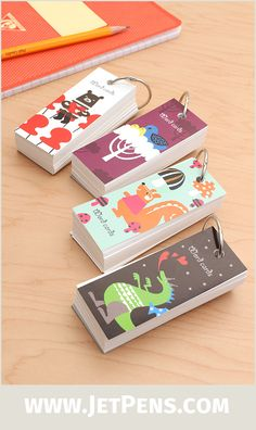Artemis Flash Cards feature fun, kid-friendly animal designs on the cardboard covers. Each set includes 100 cards on a ring.