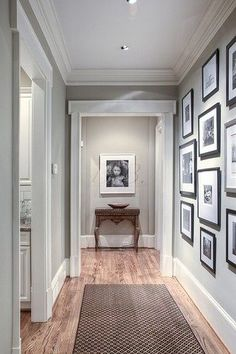 Great idea for our upstairs! Light gray paint for our hallway. Will it go with brown carpets which a light grey walls for our hallway? Style At Home, Light Gray Paint, Light Gray Walls, Grey Walls White Trim, Interior Decorating, Interior Design, Hallway Decorating, Interior Colors, Transitional Decor
