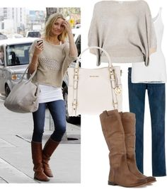 """Cameron's Tote & Cropped Sweater"" by jewhite76 Fall winter fashion"