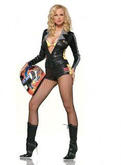 WD Lingerie - FANCY DRESS BLACK RACER GIRL COSTUME / RACER GIRLS ROMPER SUIT OUTFIT / RACE CAR DRIVER UNIFORM - SEXY 2 PC RACING DRIVERS COSTUMES , NASCAR OUTFITS & F1 MOTOR RACING UNIFORMS - ROMPER & TRIANGLE BIKINI TOP[LA-83150]