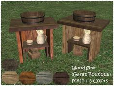 Wood Sink, Wood Bathroom, The Sims 2, Sims 4, Sims Castaway, Victorian Goth, Ts4 Cc, Maxis, Middle Ages