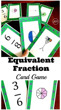 This equivalent fractions card game is a fun way for children to practice equivalent fractions using numbers, models, and number lines. Fraction Games, Fraction Activities, Math Activities For Kids, Math Resources, Equivalent Fractions, Math Graphic Organizers, Number Lines, Math Practices, Homeschool Math