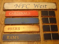 NFC West Standings board Arizona Cardinals by MyRusticBoardSigns