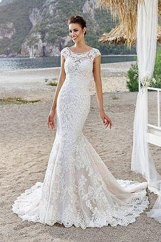 Discount Beach Trumpet Style Wedding Dresses New Mermaid With Cap Sleeve Scoop Neck Beaded Appliques Sweep