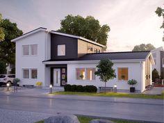 30-talets kvadratiska funkis utgör inspirationen för detta 2-planshus med sadeltak. Myresjöhus erbjuder i Nylund en villa med upp till sex sovrum.