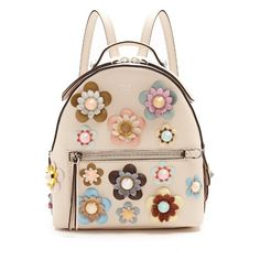 Fendi Embellished floral-appliqué mini leather backpack (35.457.005 IDR) ❤ liked on Polyvore featuring bags, backpacks, cream multi, floral backpack, leather backpack, pink backpack, leather knapsack and fendi