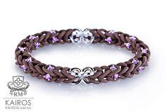 Chocolat Swarovski bracelet with 40 pink Swarovski Zirkonia and 2 silver elements. Designer fashion bracelet by KAIROS. Swarovski Bracelet, Fashion Bracelets, Green, Silver, Pink, Leather, Fashion Design, Jewelry, Blue