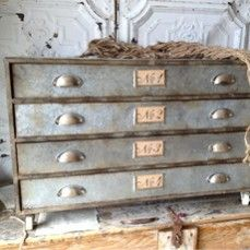 Numbered Metal Console Table With 4 Drawers    $380.00 @ http://www.antiquefarmhouse.com/current-sale-events/poor-chic.html
