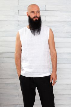 #beachweddingshirt #whiteflaxshirt #linen #menshirts #mensshirt #linenmenshirt #linenmanshirts #flaxshirtsmen #flaxshirt #linenshirtsformen #softlinenshirts #linocolore Bald Men With Beards, Bald With Beard, Green And Brown, Red And Pink, Pink Sand, Oeko Tex 100, Linen Tunic, Tank Man, Just For You