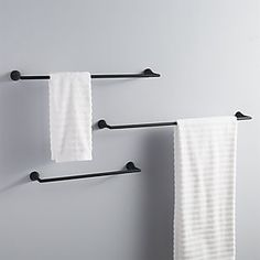 Shop black towel bar Clean straightforward silhouette in modern matte black elevates towels with chic sophistication. Pair with black wall hook to complete the look. black towel bars is a exclusive. Zen Bathroom, Towel Rack Bathroom, Bathroom Hardware, Bathroom Fixtures, Bathroom Interior, Home Interior, Bath Towel Racks, Bathroom Small, Bathroom Ideas