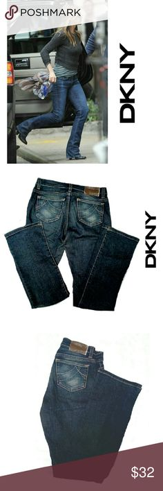 """DKNY SOHO BOOTCUT JEANS DKNY SOHO BOOTCUT JEANS Pre-Loved/Image for Similarity /EUC RN # 52002 CA#16396 SZ 1 WAIST 24"""" 98% Cotton 2% Spandex Approx Meas;    Waist  24""""    Inseam  32""""    Rise  8"""" Pls See All Pics. Ask ? If Needed DKNY Jeans Boot Cut"""