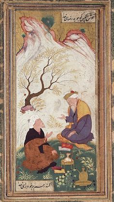 Two Bearded Men in Conversation in a Landscape Iran, Isfahan, 1650 Ink, opaque watercolor, and gold on paper 5 1/2 x 2 1/2 in. (14.0 x 6.25 cm) LACMA Collections