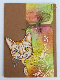 paper, ink and smiles: Stampendous and Core'dinations Hop Supplies Used: P243 Feline Curious,P249 Vintage Note,P248 3 Elegant Scroll, Memento™ Tuxedo Black Ink, Core'dinations cardstock, Zip Dry Adhesive, Distress Inks, Spectrum Noir Markers (CG3, CG2, TN2, TN3, EB1, GB7),May Arts, twine and gesso