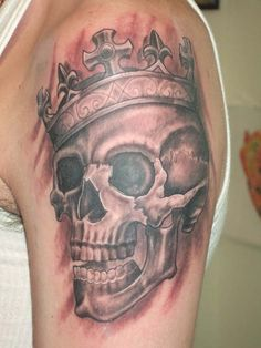 Skull with Crown Tattoo Designs - Crown Tattoos Skull Girl Tattoo, Skull Tattoos, Girl Tattoos, I Tattoo, Crown Tattoos, Aries Tattoos, Skull With Crown, Crown Tattoo Design, Tattoo Designs