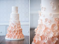 Peach Ombre Daisy Tiered Cake
