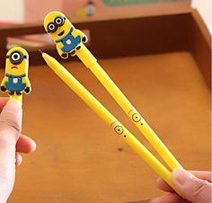 2pcs Kawaii Minions Figure Ball Point Pen Rollerball Gel Pens School Stationery