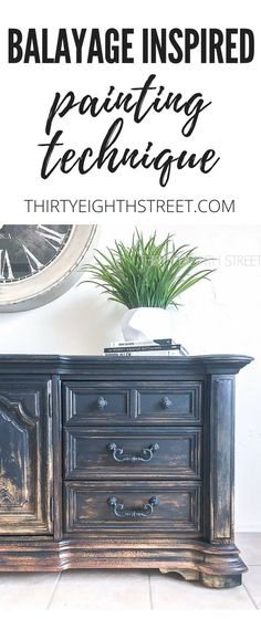 DIY Balayage Furniture Painting Technique. Balayage Hair Highlights Inspired This Painted Furniture Makeover!  Thirty Eighth Street