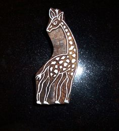 Giraffe Hand Carved Wood Stamp Animal Indian Print Block (AN7) Indian Block Print, Indian Prints, Indian Art, Carved Wood, Hand Carved, Textile Prints, Textiles, How To Make Bookmarks, Folk Embroidery