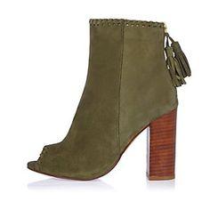 409717ecf9d4 Khaki khaki peep toe shoe boot Peep Toe Shoe Boots