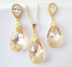 Bridal Jewelry Set, Bridal Earrings, Bridal Necklace, Gold Bridal Jewelry, Swarovski Golden Shadow, Champagne Jewelry Set, by Uniquebeadables on Etsy