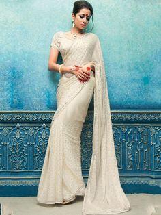 White Designer Saree