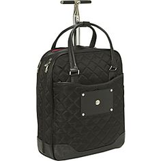 Rolling laptop bag by Knomo Serra - life changing.  Rolls or can throw over shoulder.  Best purchase I have made in the last 5 years.