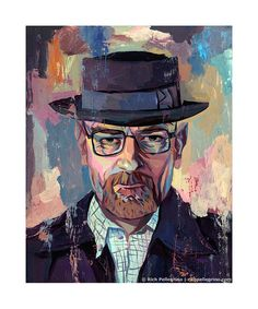 Image of Heisenberg (Walter White Breaking Bad) Artist Proof Bad Painting, Art And Illustration, Heisenberg Art, Breaking Bad Art, Original Artwork, Original Paintings, Pop Culture Art, Walter White, Artwork Prints