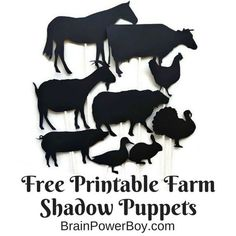 Free Printable Farm Animal Shadow Puppets and a wonderful list of Hands-On Farm books too!