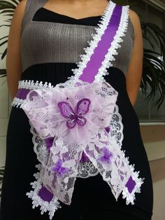 Baby Shower Mom To Be It's a Girl Sash Purple With Butterflies Ribbon &…