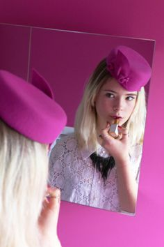 """HATSPIRATION CELEBRATION! """"This photo grabbed my attention because one it was pink, but also you can see both the front, back and sides of the hat by Dawn Wilson. I really love the quirkiness of the photo as well, not a posed picture but a preview of something that's about to happen, it's telling a story. I quite like the dark and light within the photo as well. Overall it is a well staged photo that shows the hat off beautifully."""" #millinery #hats #HatAcademy"""