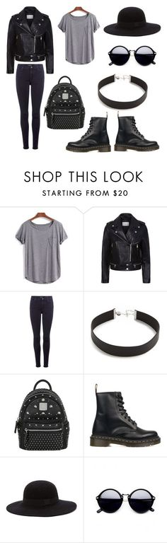 Girl Biker by jungkookiez on Polyvore featuring WithChic, Sandro, 7 For All Mankind, Dr. Martens, MCM and Jennifer Zeuner
