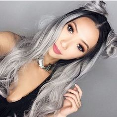 grey hair styles,more natural black to grey ombre lace front wig.