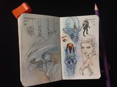 Numbers 65 & 66 of Kenneth Rocafort's 365 day sketch project (2014).