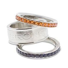 Denver #Broncos Crystal Stacked Ring Set Of 3. Click to order! - $99.99 WANT