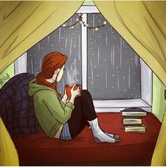Libro, café.. Lluvia