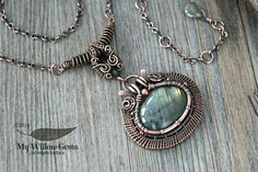 Copper Wire Wrapped Labradorite Necklace  Natural by MyWillowGems