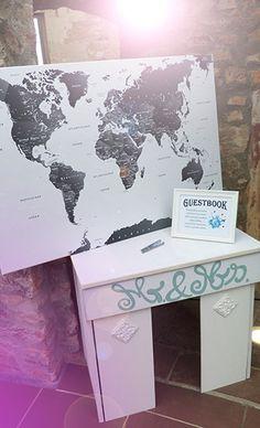 Idee Für Gästebuch Tisch Mit Landkarte Zum Unterschreiben.